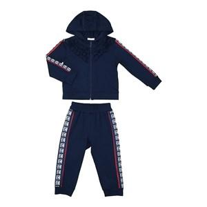 Conjunto infantil babados blusa com capuz e ziper + calça Marinho
