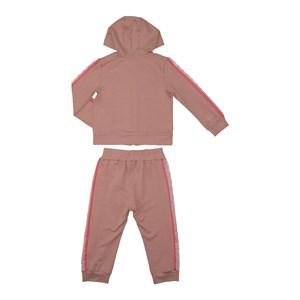 Conjunto infantil babados blusa com capuz e ziper + calça ROSA CLARO