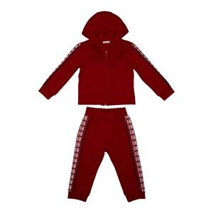 Conjunto infantil babados blusa com capuz e ziper + calça VINHO