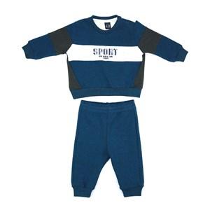 Conjunto Infantil/Baby Masculino Blusa + Calça Em Moletom Com Lycra Sem Felpa - Um Mais Um Azul