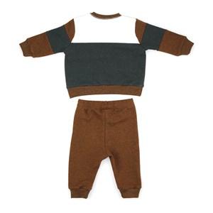 Conjunto Infantil/Baby Masculino Blusa + Calça Em Moletom Com Lycra Sem Felpa - Um Mais Um Ocre