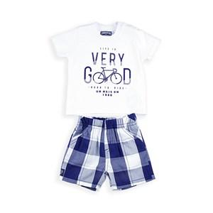 Conjunto Infantil / Baby Masculino Camiseta  + Bermuda Em Malha Penteada E Tricoline Xadrez -1+1 Marinho