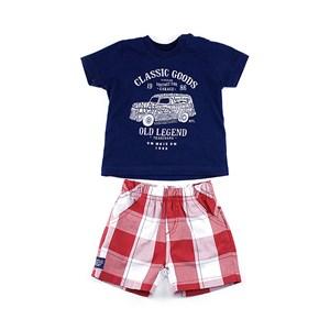 Conjunto Infantil / Baby Masculino Camiseta  + Bermuda Em Malha Penteada E Tricoline Xadrez -1+1 Vermelho