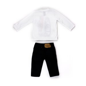 Conjunto Infantil / Baby Masculino Camiseta + Calça Em Malha E Tricoline Listrada - 1+1 Marinho