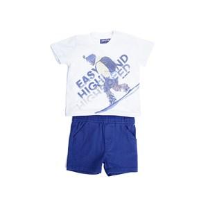 Conjunto Infantil  / Baby Masculino Camiseta Manga Curta + Bermuda Em Malha  E Sarja Com Lycra - 1+1 Marinho