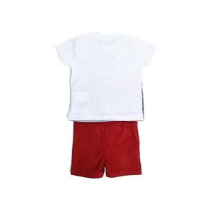 Conjunto Infantil  / Baby Masculino Camiseta Manga Curta + Bermuda Em Malha  E Sarja Com Lycra - 1+1 Vinho