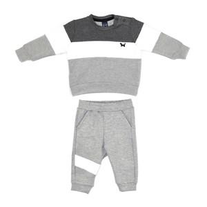 Conjunto Infantil/Baby Masculino Jaqueta + Calça Em Moletinho - Um Mais Um Mescla Claro