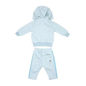Conjunto Infantil/Baby Masculino Jaqueta + Calça Em Moletom Com Linho Sem Felpa - Um Mais Um Azul Claro