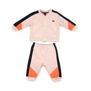 Conjunto Infantil/Baby Masculino Jaqueta + Calça Em Moletom Sem Felpa - Um Mais Um Laranja Neon             Fluor