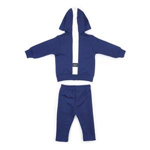 Conjunto Infantil/Baby Masculino Jaqueta + Calça Em Moletom Sem Felpa - Um Mais Um Marinho