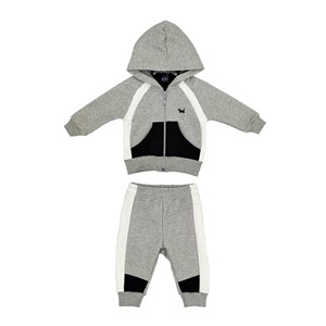 Conjunto Infantil/Baby Masculino Jaqueta + Calça Em Moletom Sem Felpa - Um Mais Um Mescla Claro