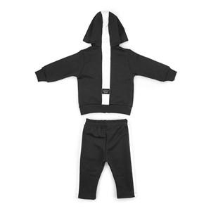 Conjunto Infantil/Baby Masculino Jaqueta + Calça Em Moletom Sem Felpa - Um Mais Um Preto