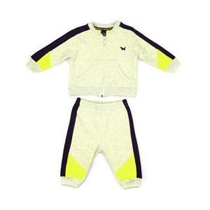 Conjunto Infantil/Baby Masculino Jaqueta + Calça Em Moletom Sem Felpa - Um Mais Um Verde Fluor