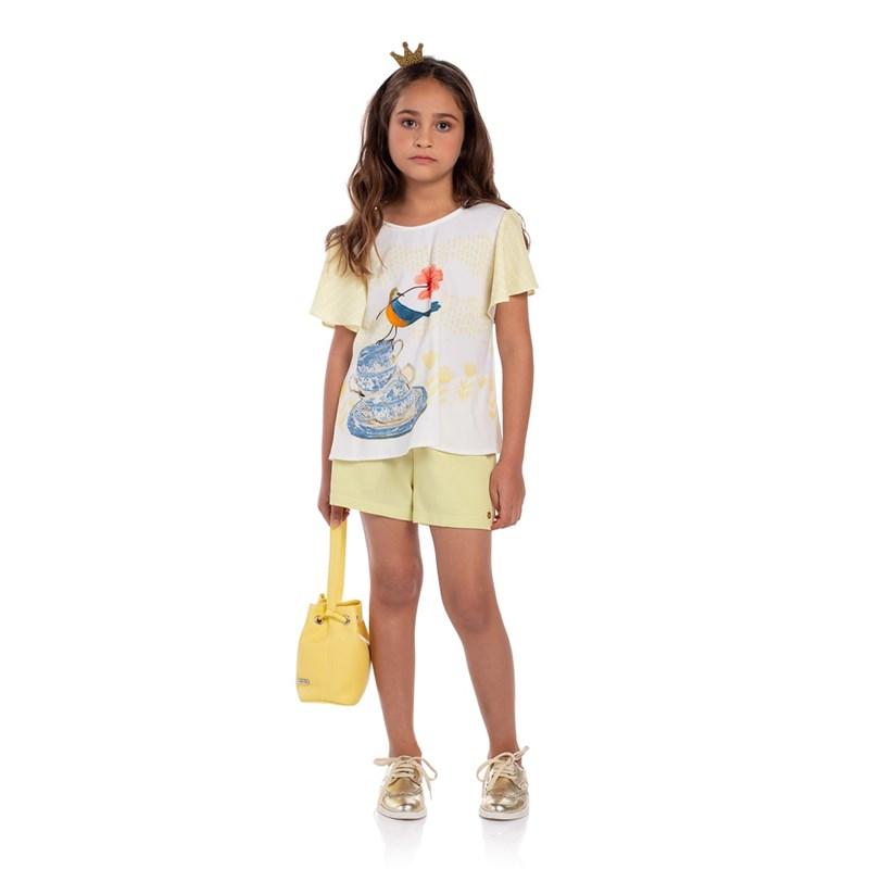Conjunto Infantil Bata Evasê Com Short Lima