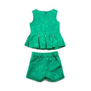 Conjunto Infantil - Bata / Short - Em Jacquard Com Corneli E Broche De Pérolas - 1+1 Verde