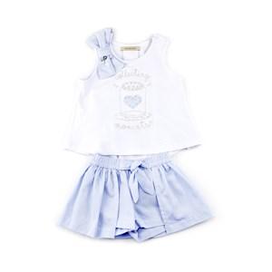 Conjunto Infantil - Bata / Short-Saia – Com Patchs Bordados E Pedrarias - 1+1 Azul Claro