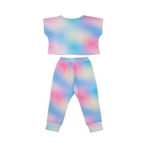 Conjunto Infantil Blusa + Calça + Máscara De Proteção Tye Dye Azul Claro