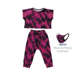 Conjunto Infantil Blusa + Calça + Máscara De Proteção Tye Dye Pink