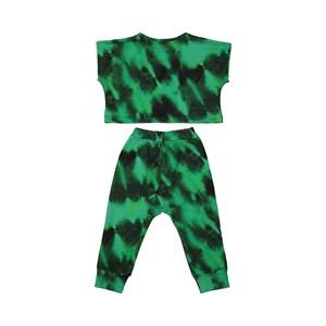 Conjunto Infantil Blusa + Calça + Máscara De Proteção Tye Dye Verde