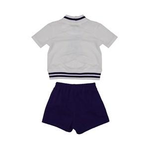 Conjunto infantil blusa com barra de tricot estampa de ursinho + short bolso faca Marinho