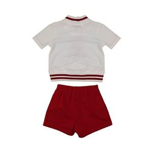Conjunto infantil blusa com barra de tricot estampa de ursinho + short bolso faca VINHO