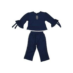 Conjunto infantil blusa com barrado evase + calça com detalhe paete Marinho