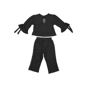 Conjunto infantil blusa com barrado evase + calça com detalhe paete Preto