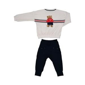 Conjunto infantil blusa de ursinho + calça com detalhe de ilhos Marinho