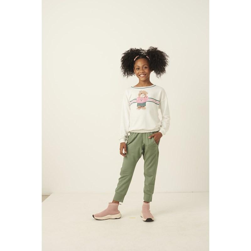 Conjunto infantil blusa de ursinho + calça com detalhe de ilhos VERDE