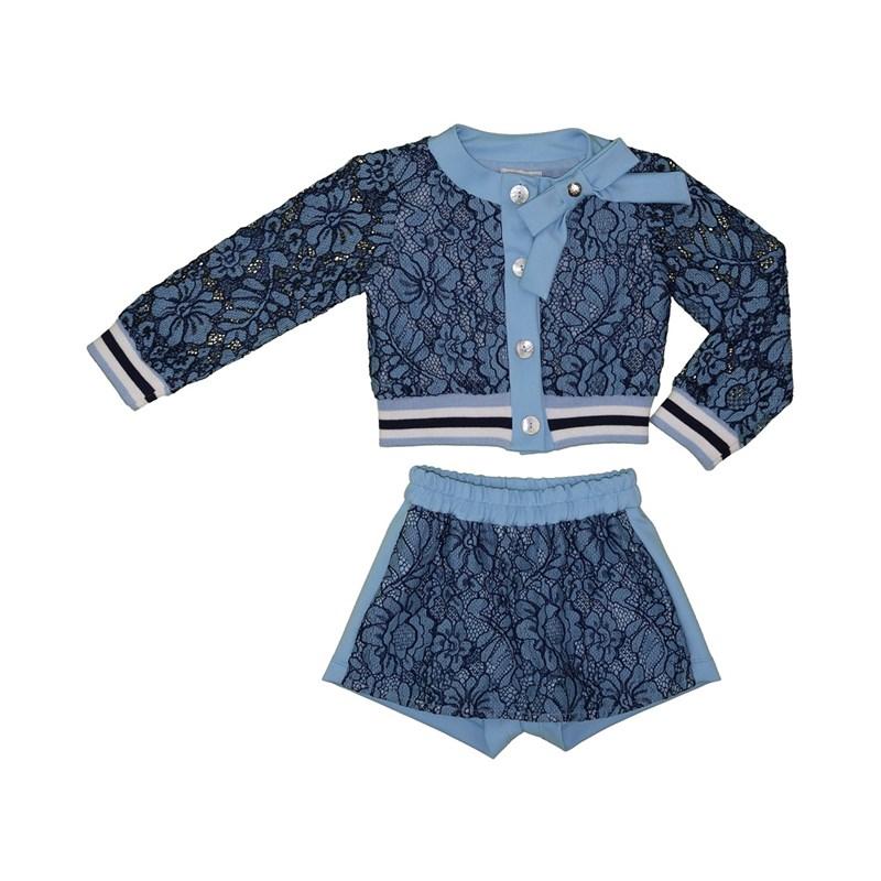 Conjunto infantil blusa manga longa bufante com punhos canelado + short saia em renda AZUL CLARO