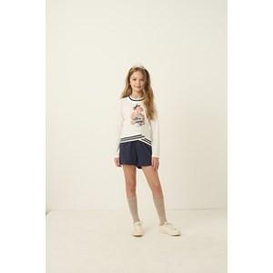 Conjunto infantil blusa manga longa com barra de tricot estampa de ursinho + short bolso faca Marinho