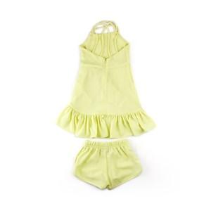 Conjunto Infantil - Blusa / Short - Em Crepe Com Lycra Com Broche De Libélula - 1+1 Amarelo Canario