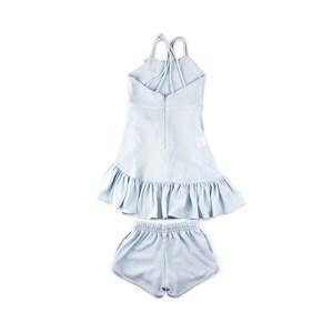 Conjunto Infantil - Blusa / Short - Em Crepe Com Lycra Com Broche De Libélula - 1+1 Azul Claro