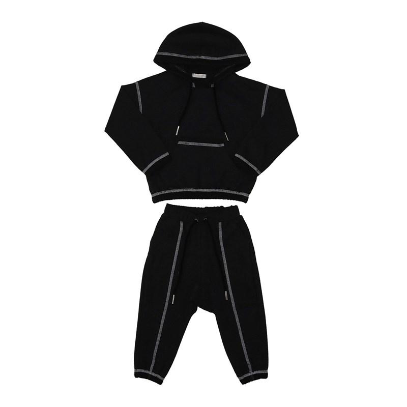 Conjunto infantil feminino abrigo blusa com capuz e bolso + calça Preto