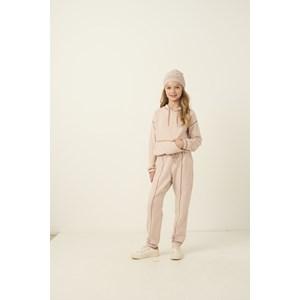 Conjunto infantil feminino abrigo blusa com capuz e bolso + calça ROSE