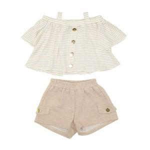 Conjunto Infantil Feminino Bata Canelada Ciganinha Com Botões + Short Bege Escuro