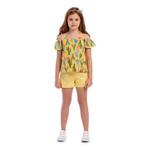 Conjunto Infantil Feminino Bata Estampada De Alcinha  + Short Liso Amarelo Canario