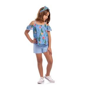 Conjunto Infantil Feminino Bata Estampada De Alcinha  + Short Liso Azul Claro