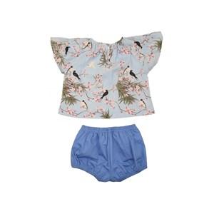 Conjunto Infantil Feminino Bata Mangas Raglan + Short Balone Azul Claro
