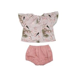 Conjunto Infantil Feminino Bata Mangas Raglan + Short Balone Rose