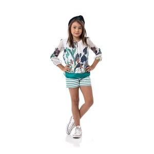 Conjunto Infantil Feminino Bata + Short Em Voil Com Forro De Helanquinha E Neoprene - 1+1 Verde