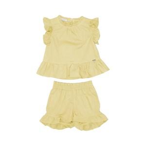 Conjunto Infantil Feminino Blusa Babado + Short Babado Amarelo Canario