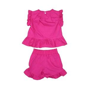 Conjunto Infantil Feminino Blusa Babado + Short Babado Pink