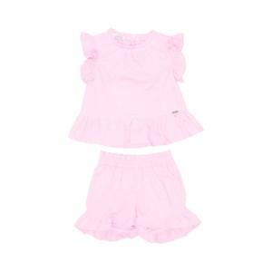 Conjunto Infantil Feminino Blusa Babado + Short Babado Rosa Claro