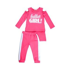 Conjunto Infantil Feminino Blusa + Calça Em Moletinho Com Lycra - 1+1 Pink