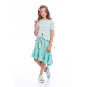 Conjunto Infantil Feminino Blusa Com Mangas Bufantes E Saia Com Babado Godê Verde Agua