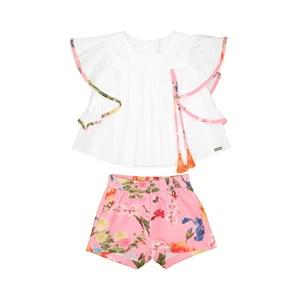 Conjunto Infantil Feminino Blusa Com Mangas Godê + Short Estampado Rosa Claro