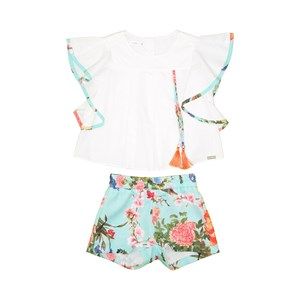 Conjunto Infantil Feminino Blusa Com Mangas Godê + Short Estampado Verde Agua
