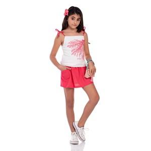 Conjunto Infantil Feminino Blusa De Alcinha Com Short-Saia Coral