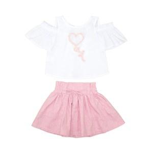 Conjunto Infantil Feminino Blusa Estampada Com Manga Franzida + Saia Godê Pink